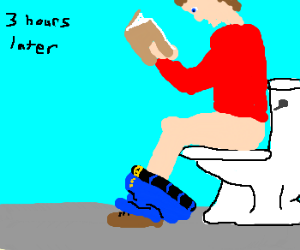 Constipated man reading on toilet.