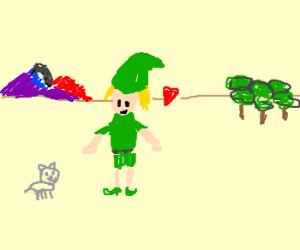 Link loves a grey kitten.
