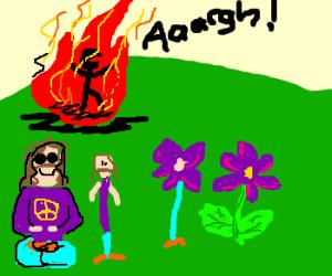at burning man, hippies turn to flowers