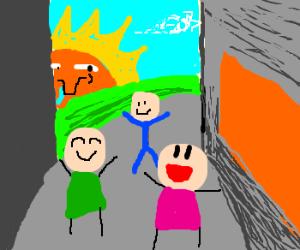 Sun stalks kids playing on the street
