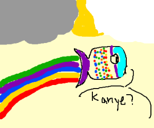 Gay, rainbow fish looking for Kanye