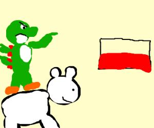 Yoshi invades Poland on polar bear