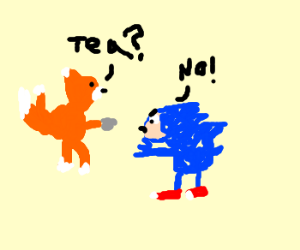 Tails enjoys tea with angry an sonic.
