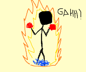 Angry boxer bursts into flames.