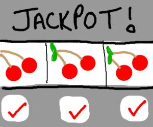 three cherries wins the jackpot