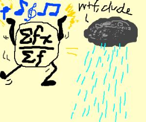 A mean dances next to a small raincloud.