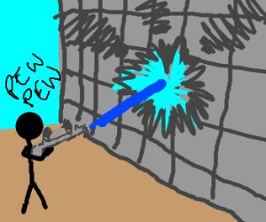 Shoot the wall with blue lasers!