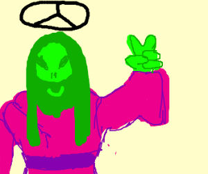 Alien Jesus opposes war.