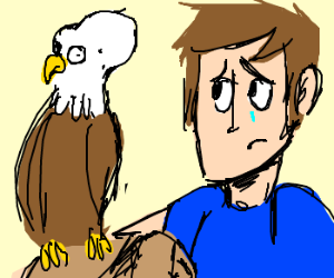 man is sad cuz pet eagle has brain tumor