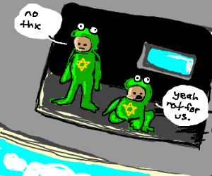 Jewish twins in frog suits don't skydive