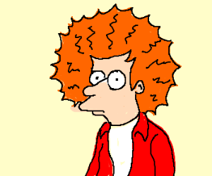 redhead with static charged hair.