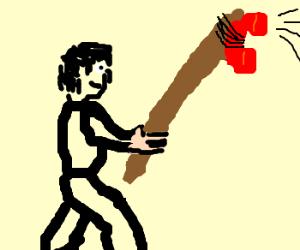 man holds speakerphone on big stick