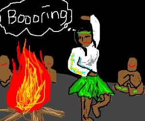 Wary maiden dances in tribal ritual.