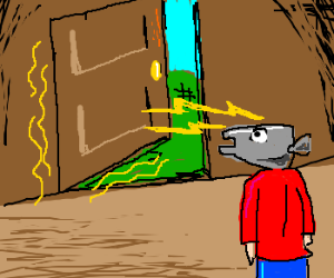 Fishhead man using mind to open door