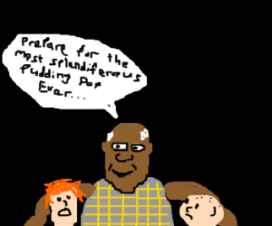 Black man steals childen for pudding pop