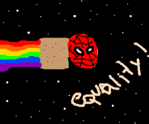 Spider wants equality with nyancat meme