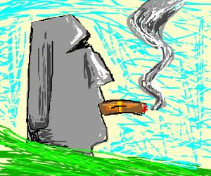 Easter Island head smokes cigar