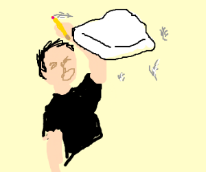 Man with pencil being hit by a pillow