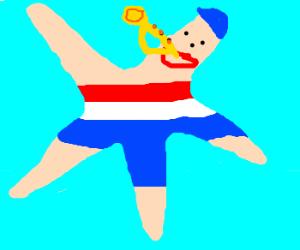 "Rd,Wht&Blu ""USA"" starfish blows his horn"