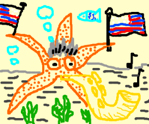 Patriot starfish with grey hair and sax