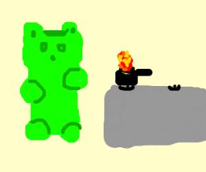 gummy bear burning his dinner on stove