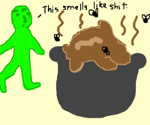 Green man going to turd filled couldron
