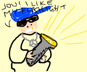 Wigger in love with his flashlight.