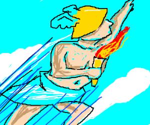 Torch-bearing Hermes flies in the sky