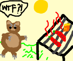 Bear is disappointed of barbecue