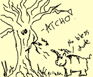 Tree blows nose all over pig