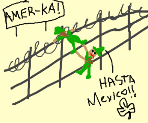 Mexican Crossing The Border Drawing