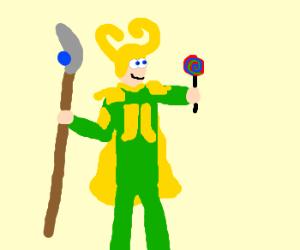 Loki offering a lollipop