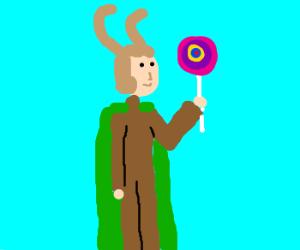 Loki has a tasty lollipop!