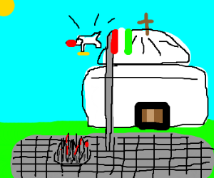 The Pope falls from flagpole onto spikes