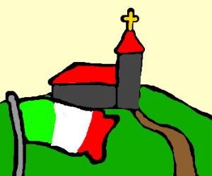 Italian flag infront of church