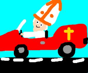 Pope in the popemobile