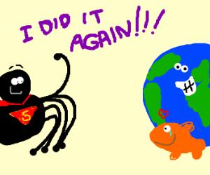 Goldfish thanks spider for saving earth