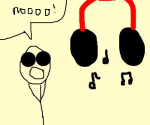 Guy afraid of giant headphones