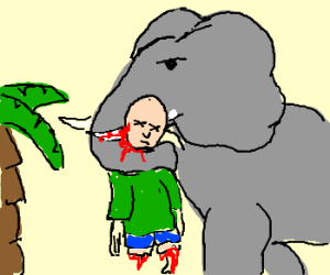 Elephant Puts Cripple Out of His Misery