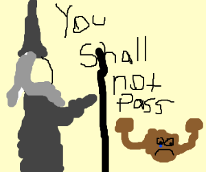 Dumbledore tells geodude he cannot pass