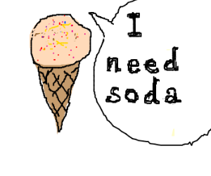 Icecream cone with sprinkles needs soda