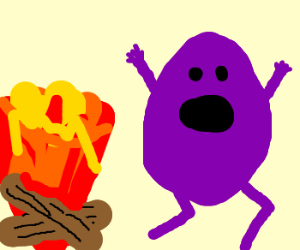 purple potatoblob runs in panic frm fire