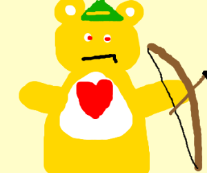 Yellow carebear is creepy robin hood.