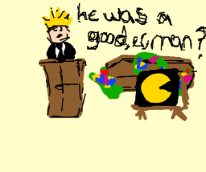 King giving a speech about pacman