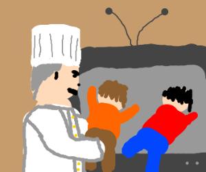 Chef traps children inside television