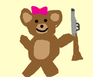 lady teddybear has a shotgun