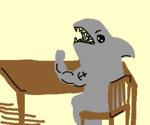 An arm-wrestling shark.