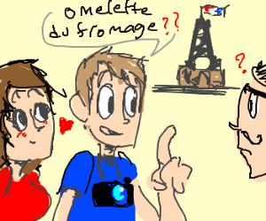 2 tourists say the only French they know