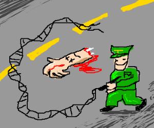 Green Police Draw Around Murdered Hand