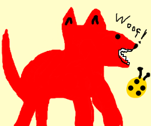 giant red dog barks at yellow beatle
